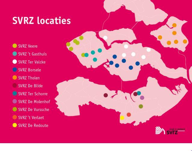 SVRZ Kaartje locaties Zeeland
