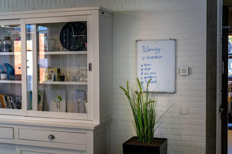 Kast, Plant en Whiteboard in woning Ter Schorre Dementie op Jonge Leeftijd
